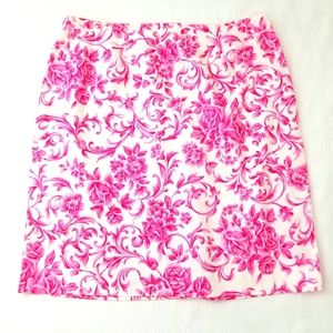 Talbots Pink and White Floral Design Skirt